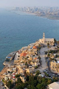 Aireal view overlooking old Yafo andand the Tel Aviv Skyline in the back.